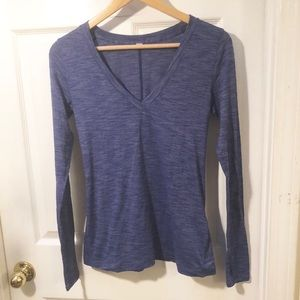 Lululemon Blue v neck tee long sleeve top